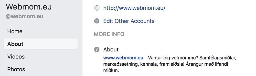 webmom.eu, breyta um síðuna