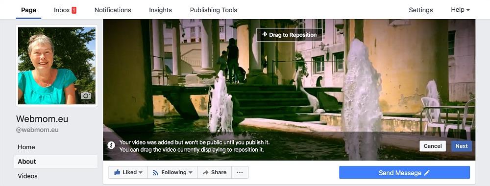 webmom.eu, facebook forsíðuvídeo