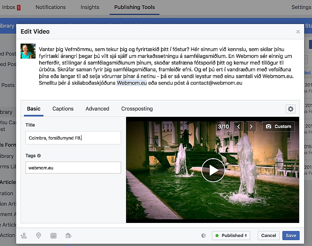 webmom.eu, video-lýsing, Facebook